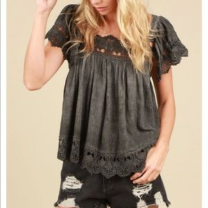 Washed Black Crochet baby doll tank top